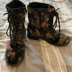 Velvet floral combat boots